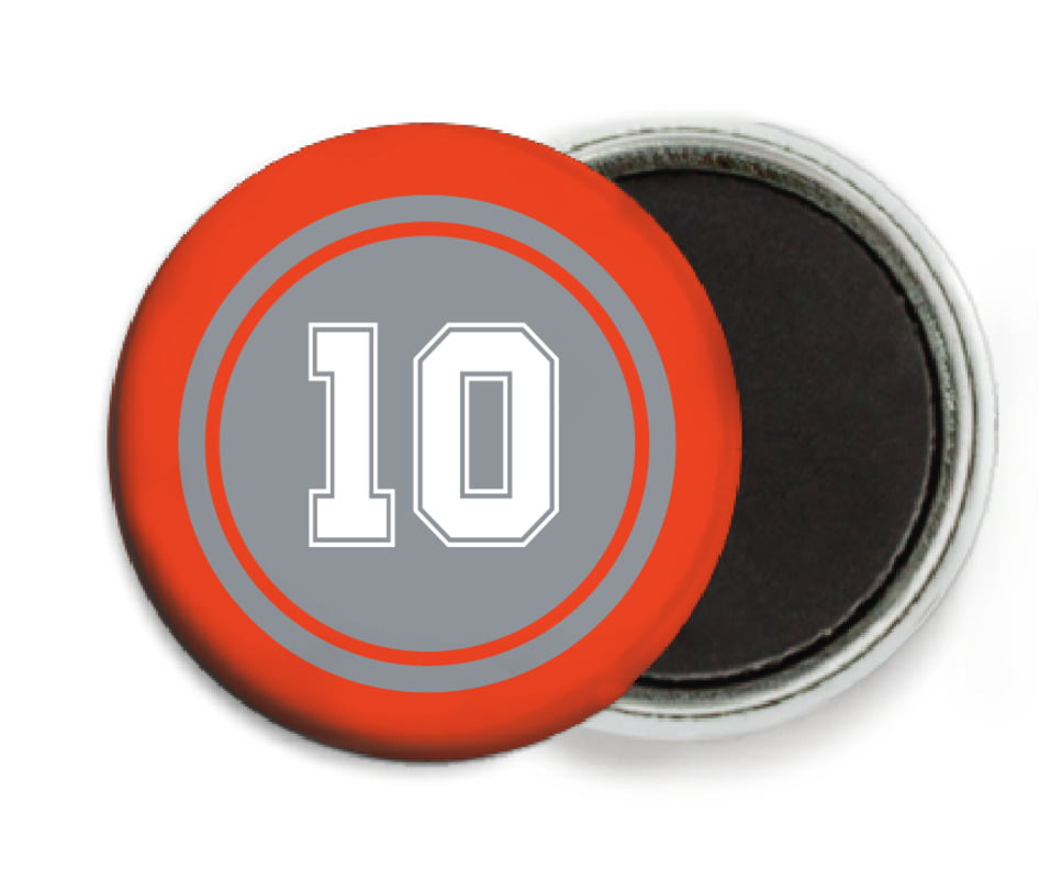 custom button magnets - silver & orange - football (set of 6)