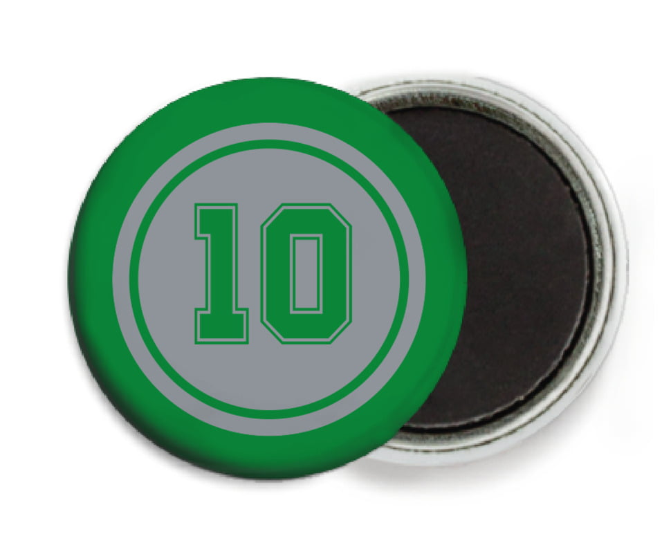 custom button magnets - silver & green - football (set of 6)