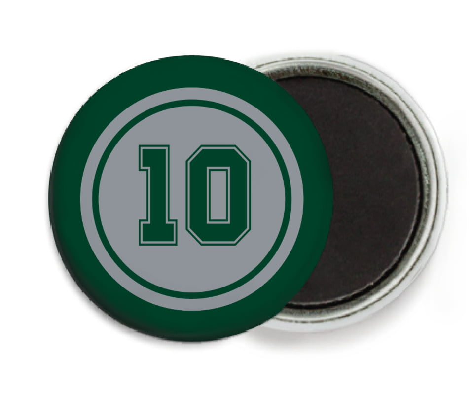 custom button magnets - silver & forest - football (set of 6)