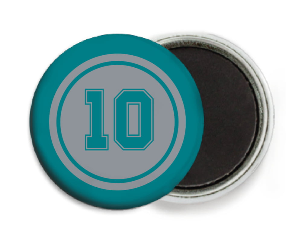 custom button magnets - silver & teal - football (set of 6)