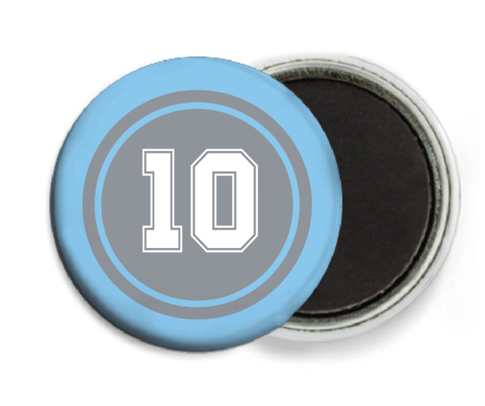 custom button magnets - silver & light blue - football (set of 6)