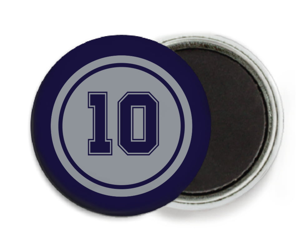 custom button magnets - silver & navy - football (set of 6)