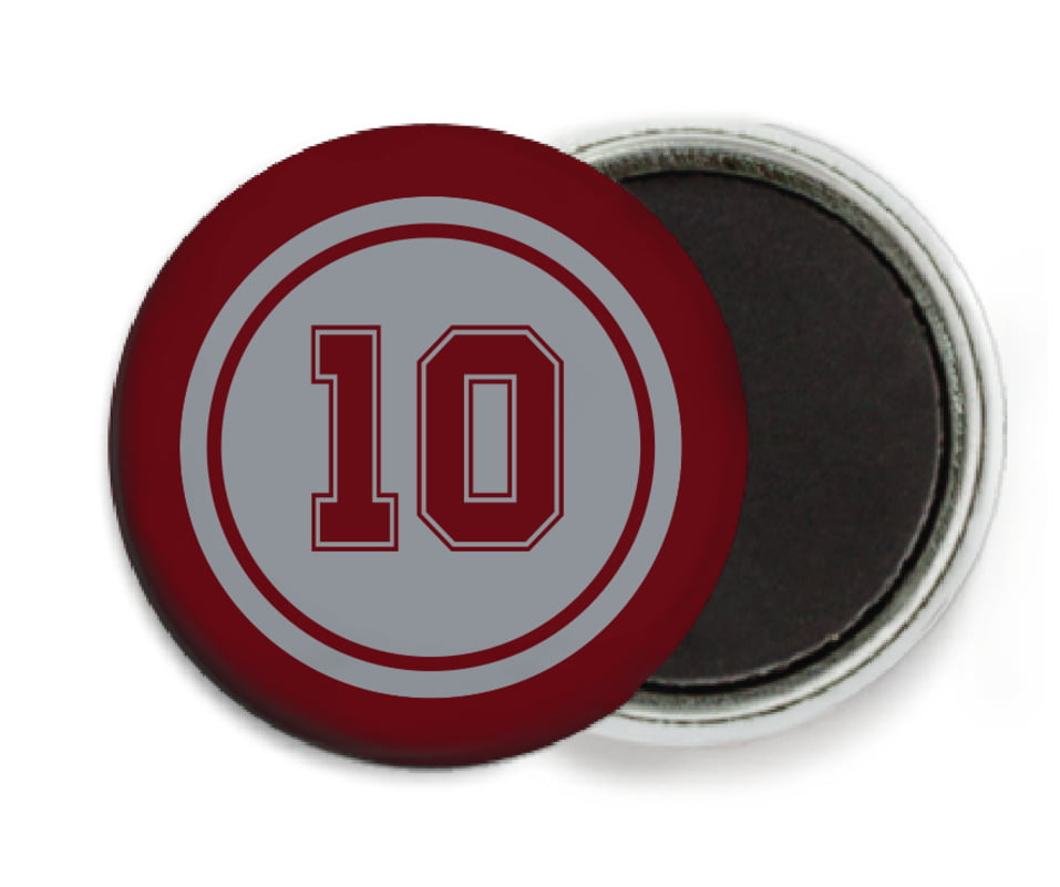 custom button magnets - silver & maroon - football (set of 6)