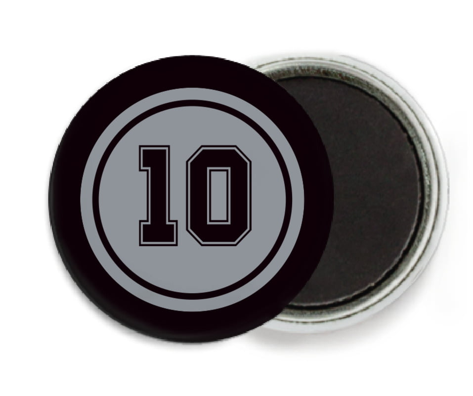 custom button magnets - silver & black - football (set of 6)