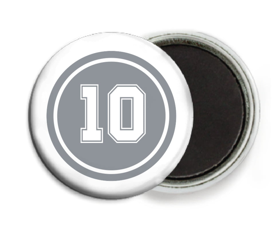 custom button magnets - silver & white - football (set of 6)