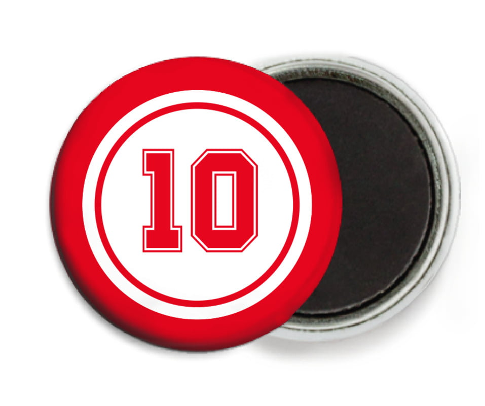custom button magnets - white & red - football (set of 6)