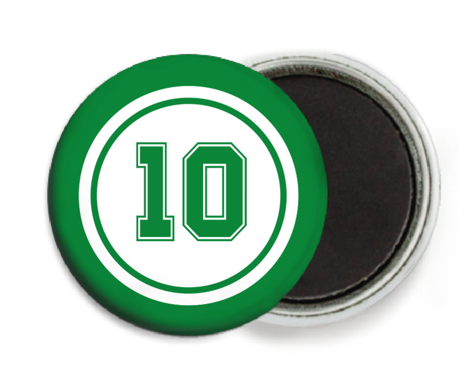 custom button magnets - white & green - football (set of 6)