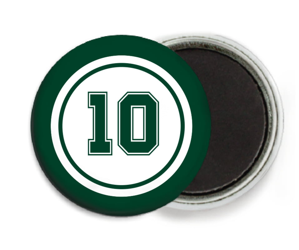 custom button magnets - white & forest - football (set of 6)