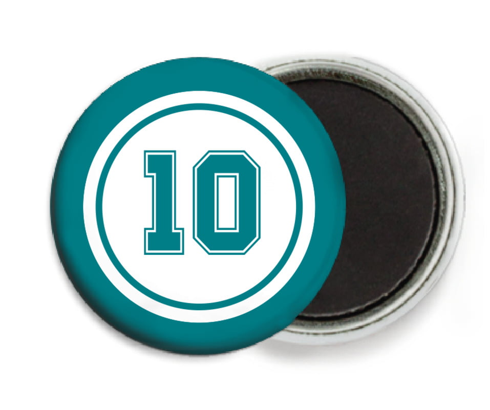 custom button magnets - white & teal - football (set of 6)