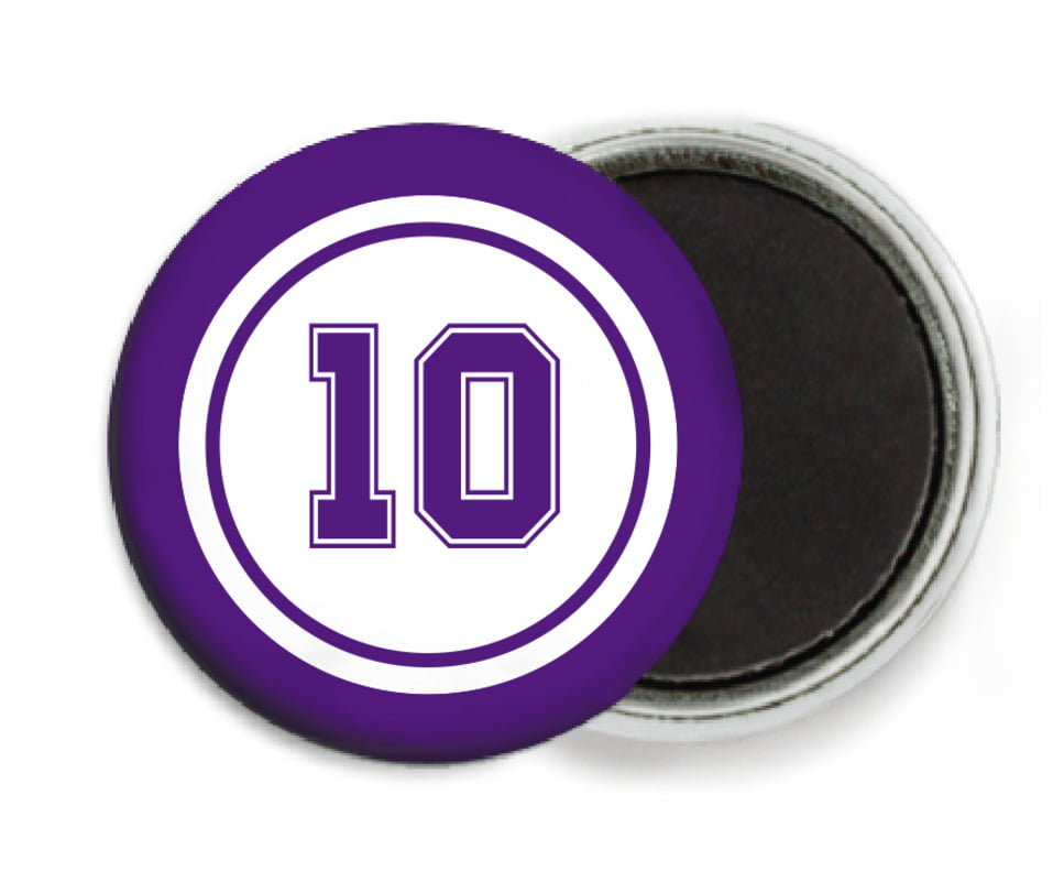 custom button magnets - white & purple - football (set of 6)