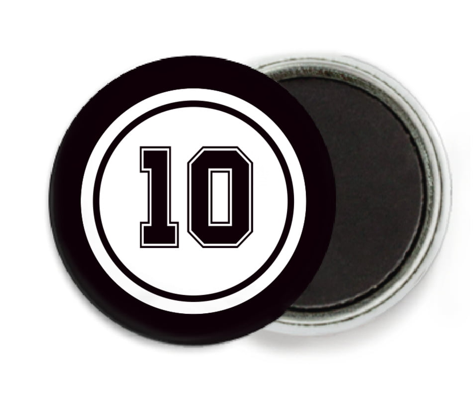 custom button magnets - white & black - football (set of 6)