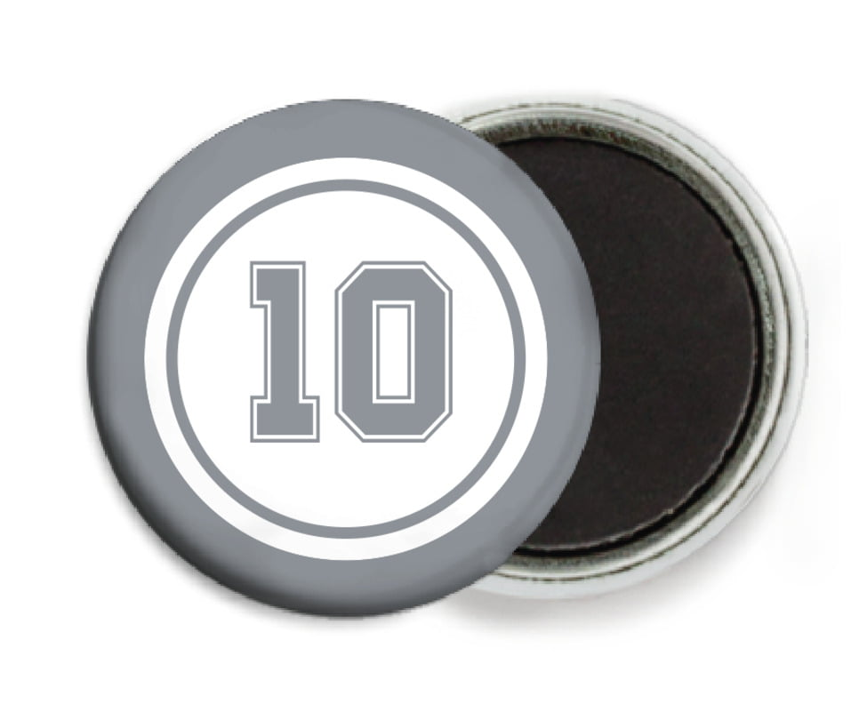 custom button magnets - white & silver - football (set of 6)
