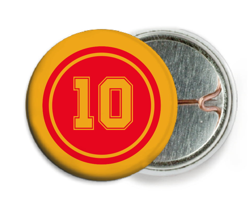 custom pin back buttons - red & gold - football (set of 6)
