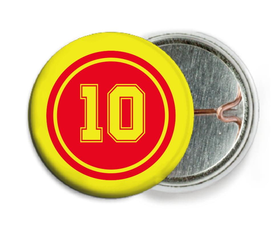 custom pin back buttons - red & yellow - football (set of 6)