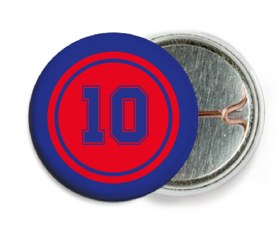 custom pin back buttons - red & royal - football (set of 6)