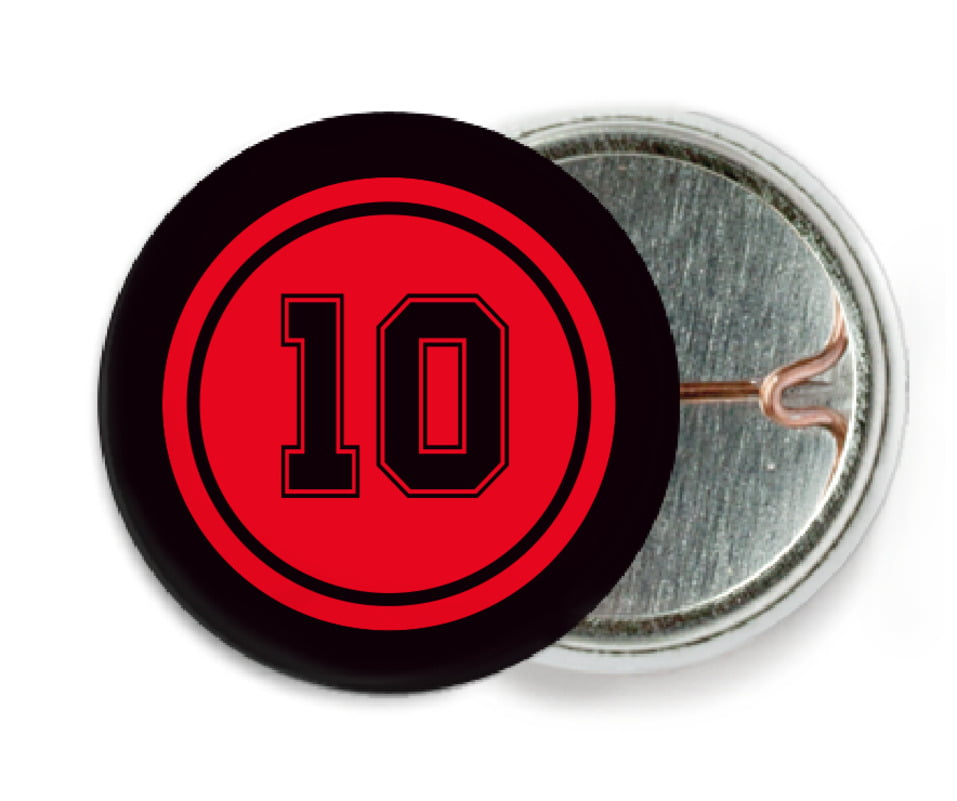 custom pin back buttons - red & black - football (set of 6)