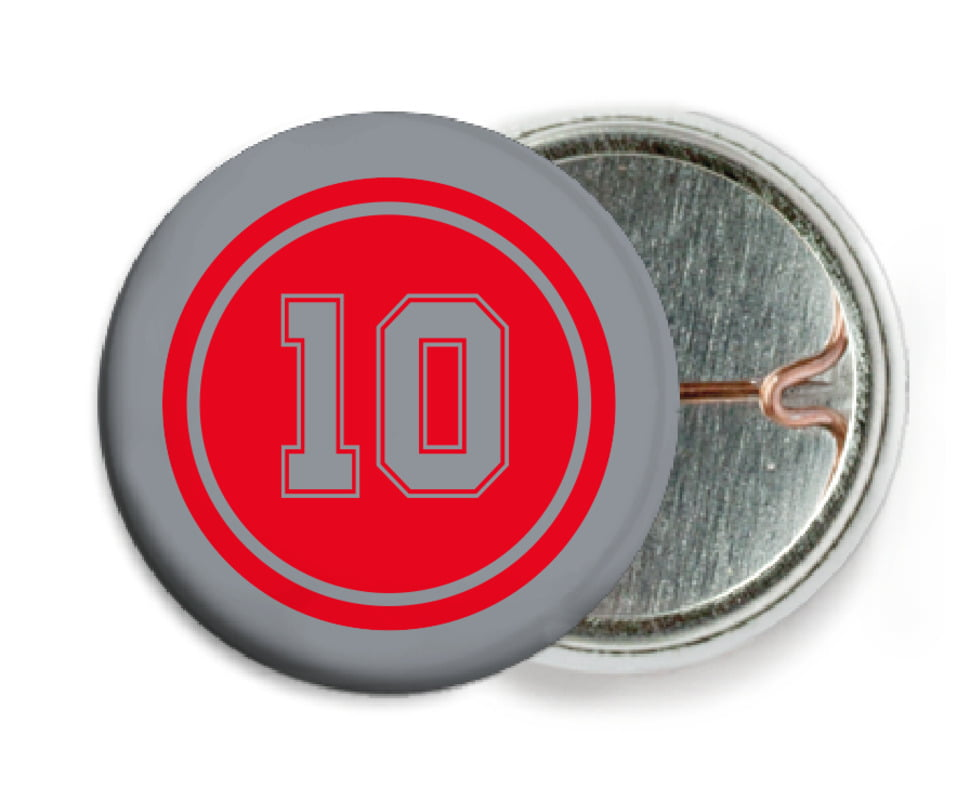 custom pin back buttons - red & silver - football (set of 6)