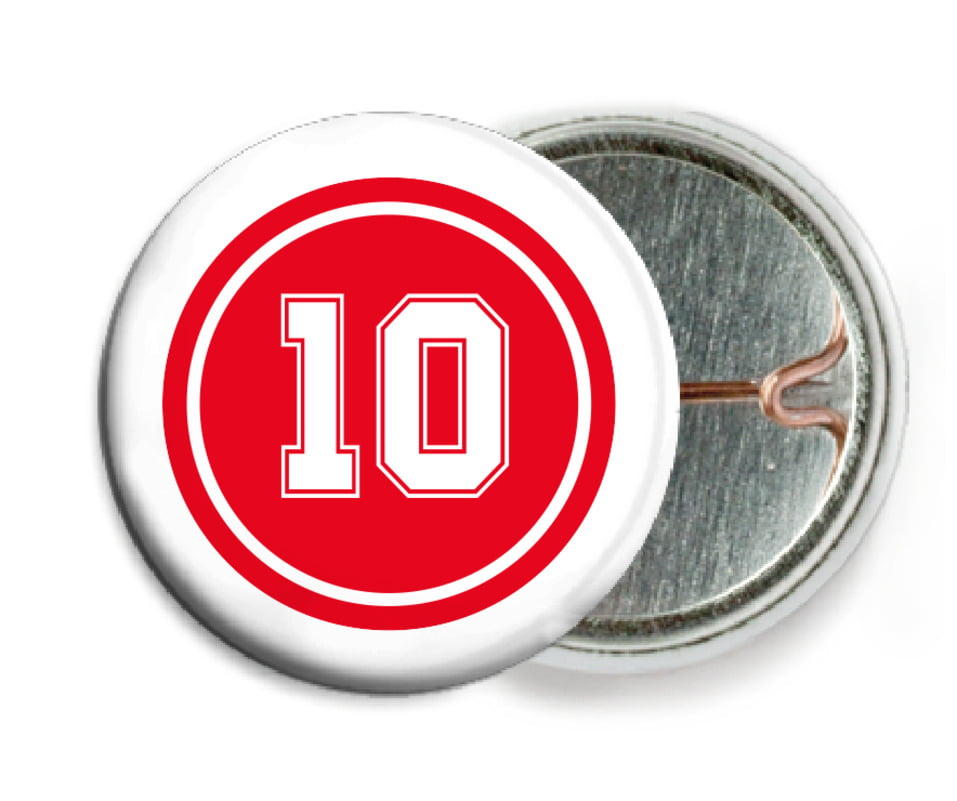 custom pin back buttons - red & white - football (set of 6)
