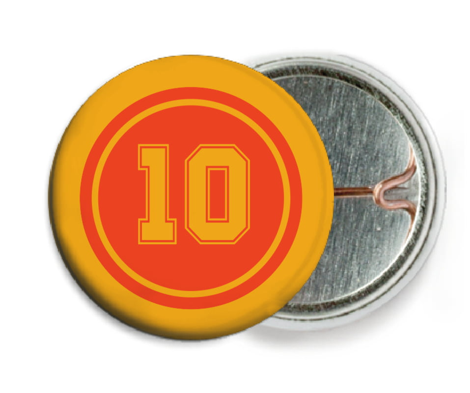 custom pin back buttons - orange & gold - football (set of 6)