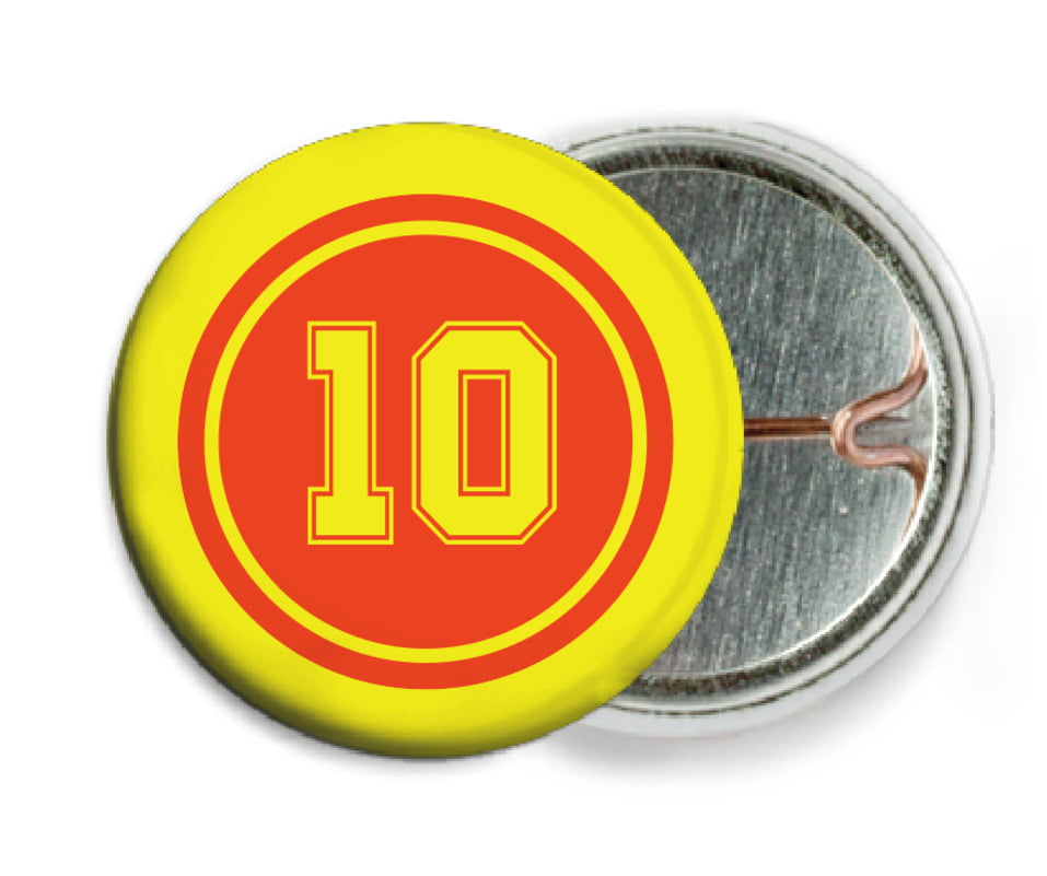 custom pin back buttons - orange & yellow - football (set of 6)