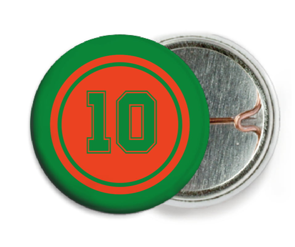 custom pin back buttons - orange & green - football (set of 6)