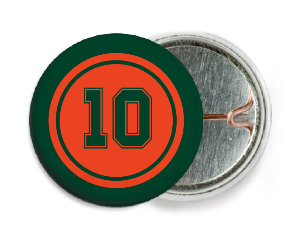 custom pin back buttons - orange & forest - football (set of 6)
