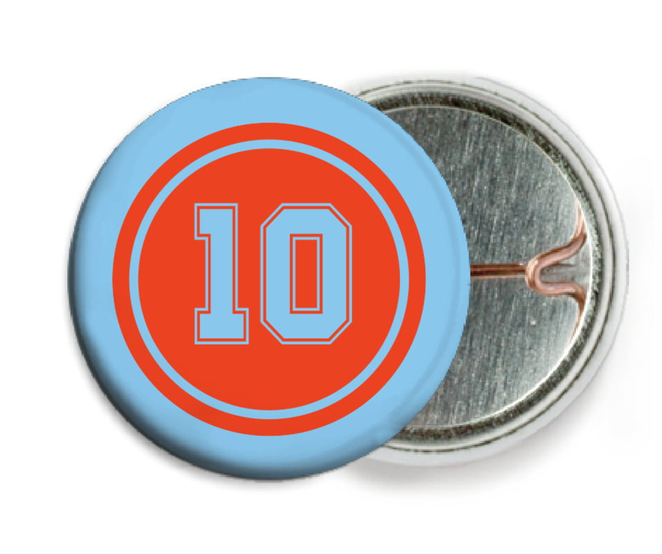 custom pin back buttons - orange & light blue - football (set of 6)