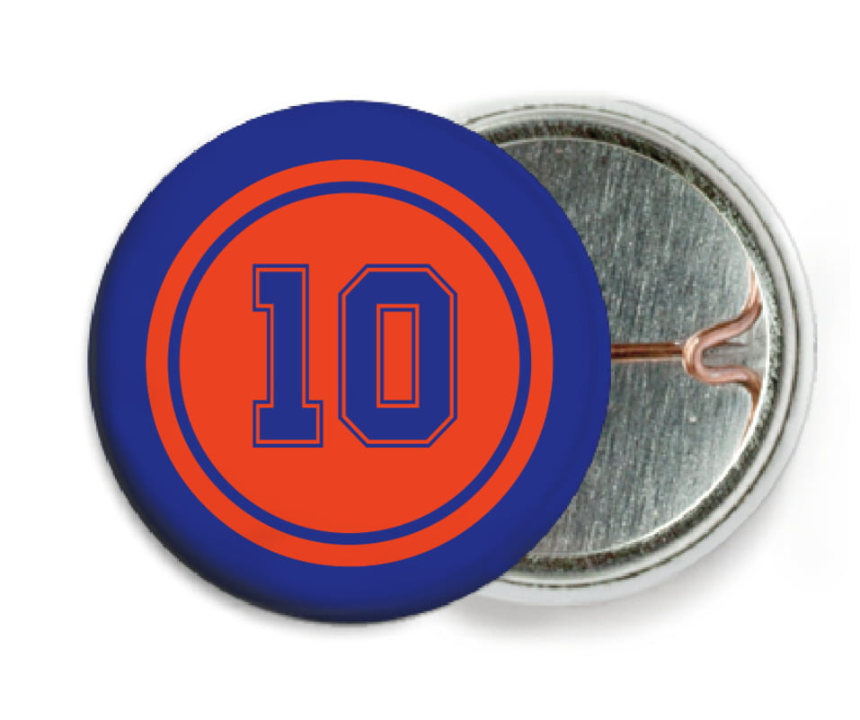 custom pin back buttons - orange & royal - football (set of 6)