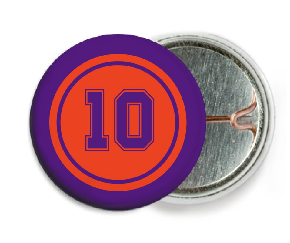 custom pin back buttons - orange & purple - football (set of 6)