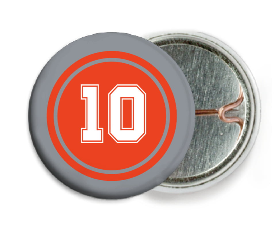 custom pin back buttons - orange & silver - football (set of 6)