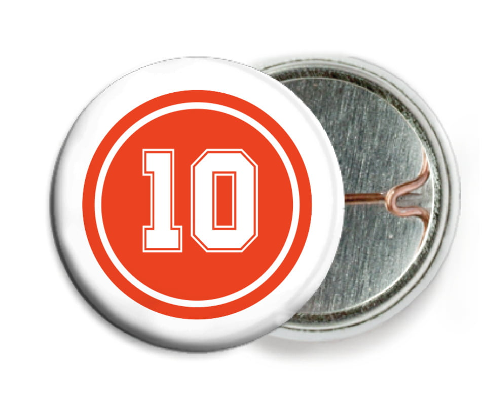 custom pin back buttons - orange & white - football (set of 6)