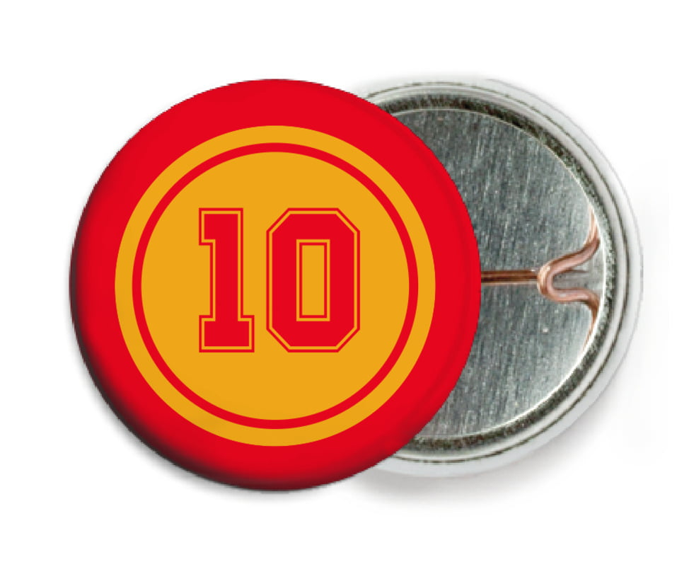 custom pin back buttons - gold & red - football (set of 6)