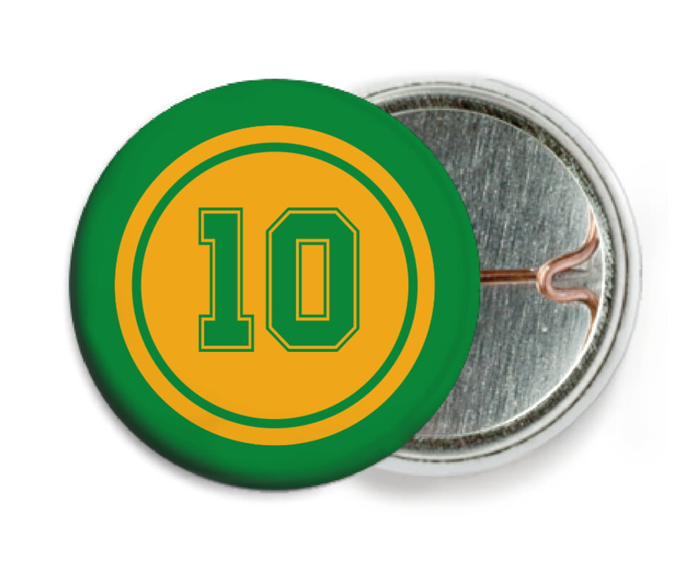 custom pin back buttons - gold & green - football (set of 6)