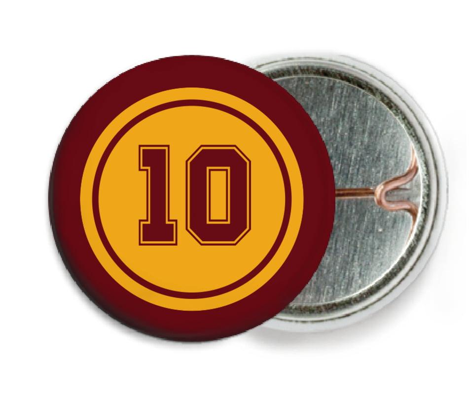 custom pin back buttons - gold & maroon - football (set of 6)