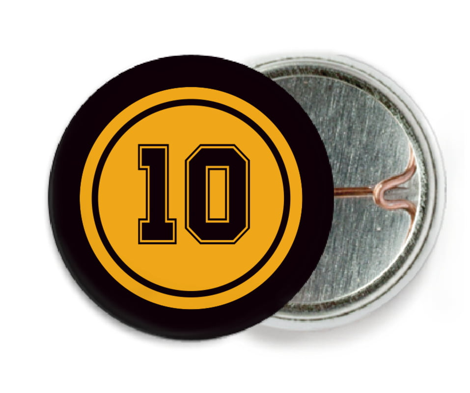 custom pin back buttons - gold & black - football (set of 6)