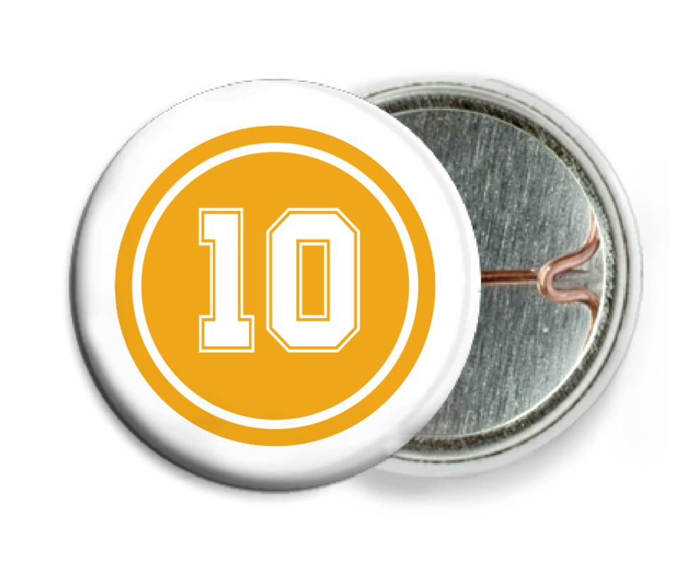 custom pin back buttons - gold & white - football (set of 6)