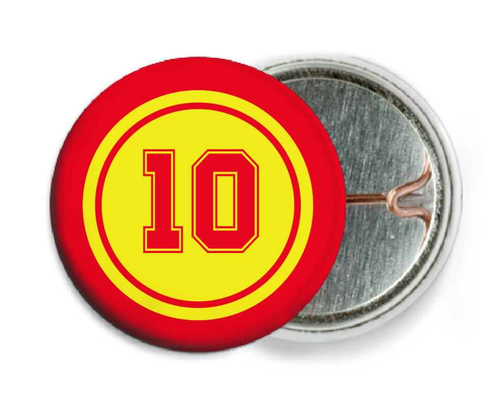 custom pin back buttons - yellow & red - football (set of 6)