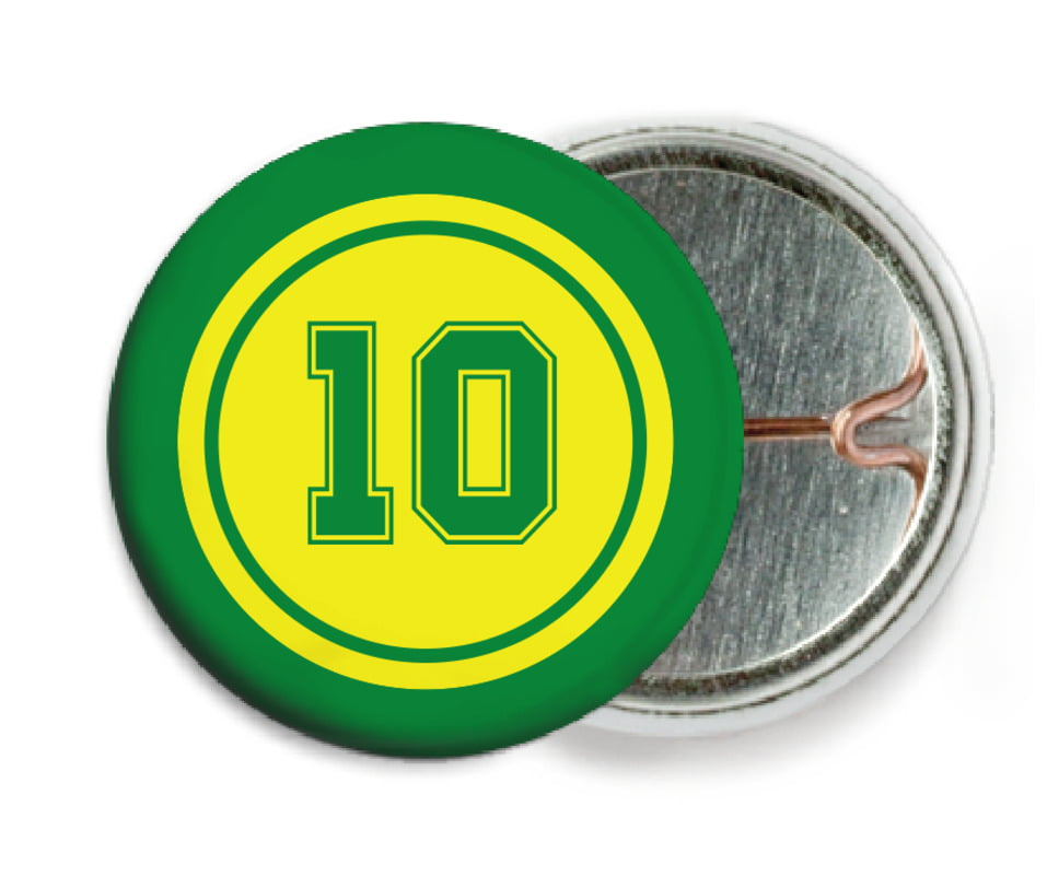 custom pin back buttons - yellow & green - football (set of 6)
