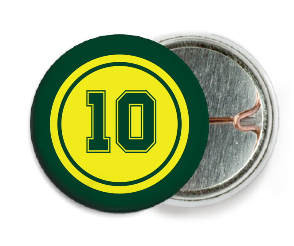 custom pin back buttons - yellow & forest - football (set of 6)