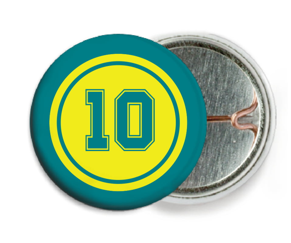 custom pin back buttons - yellow & teal - football (set of 6)