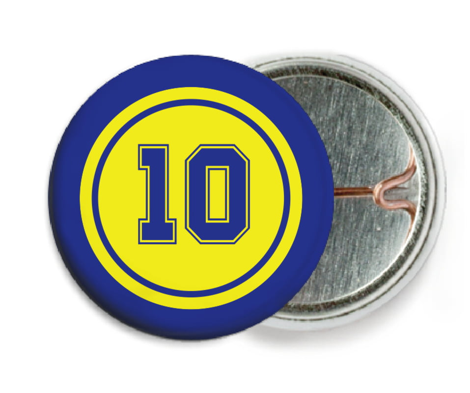 custom pin back buttons - yellow & royal - football (set of 6)