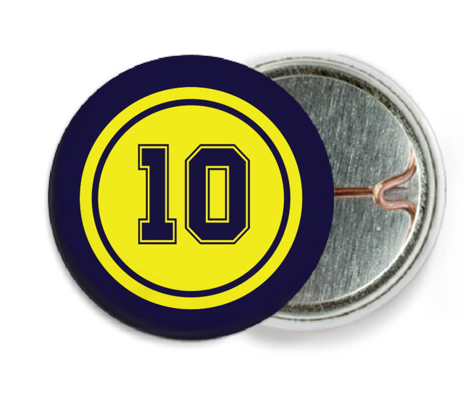 custom pin back buttons - yellow & navy - football (set of 6)