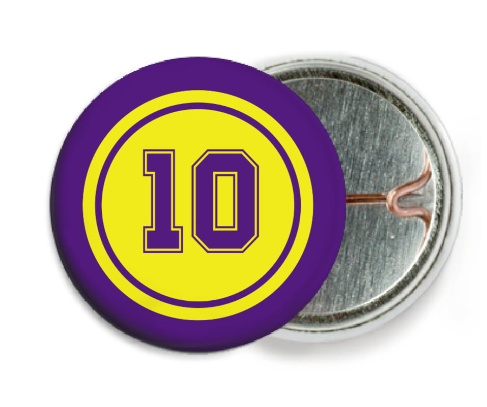custom pin back buttons - yellow & purple - football (set of 6)