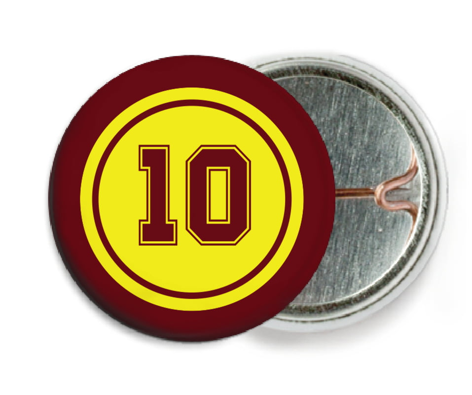 custom pin back buttons - yellow & maroon - football (set of 6)