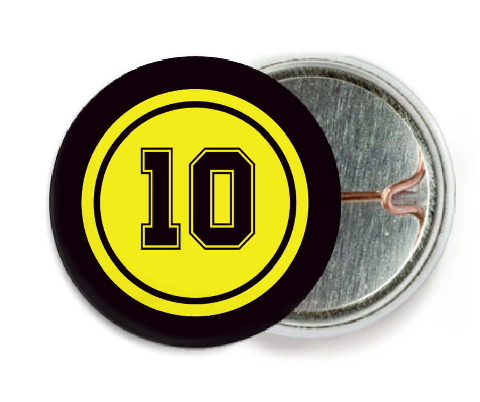custom pin back buttons - yellow & black - football (set of 6)
