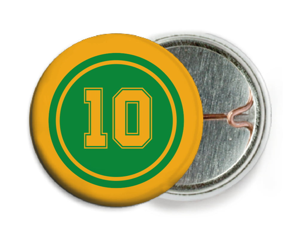 custom pin back buttons - green & gold - football (set of 6)