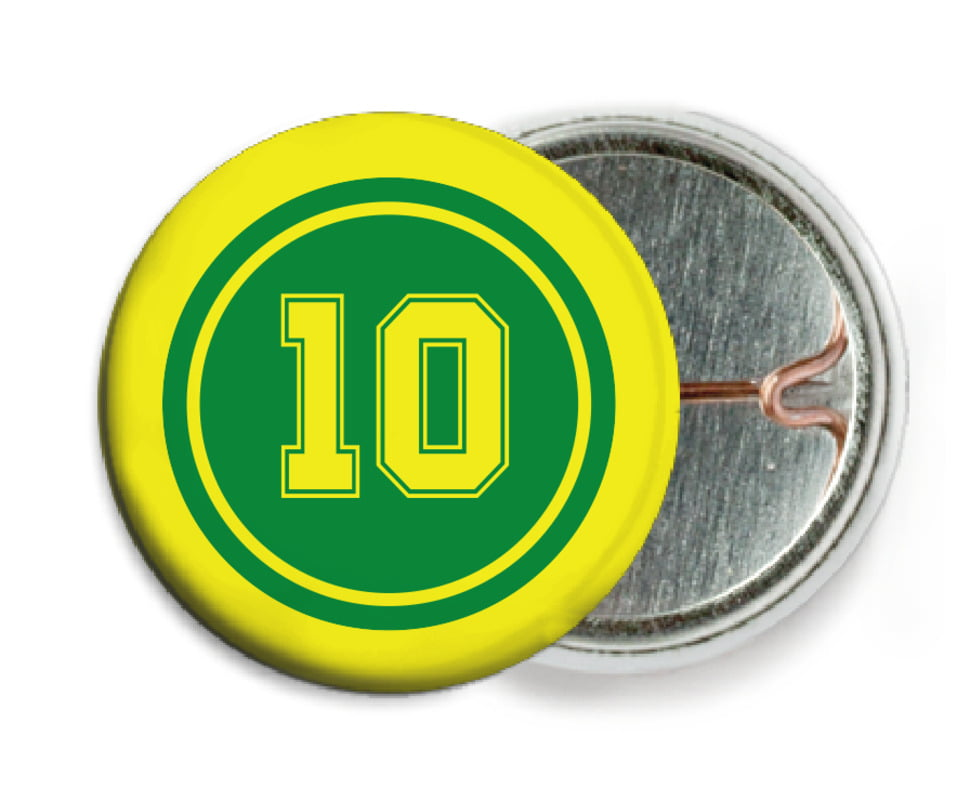 custom pin back buttons - green & yellow - football (set of 6)