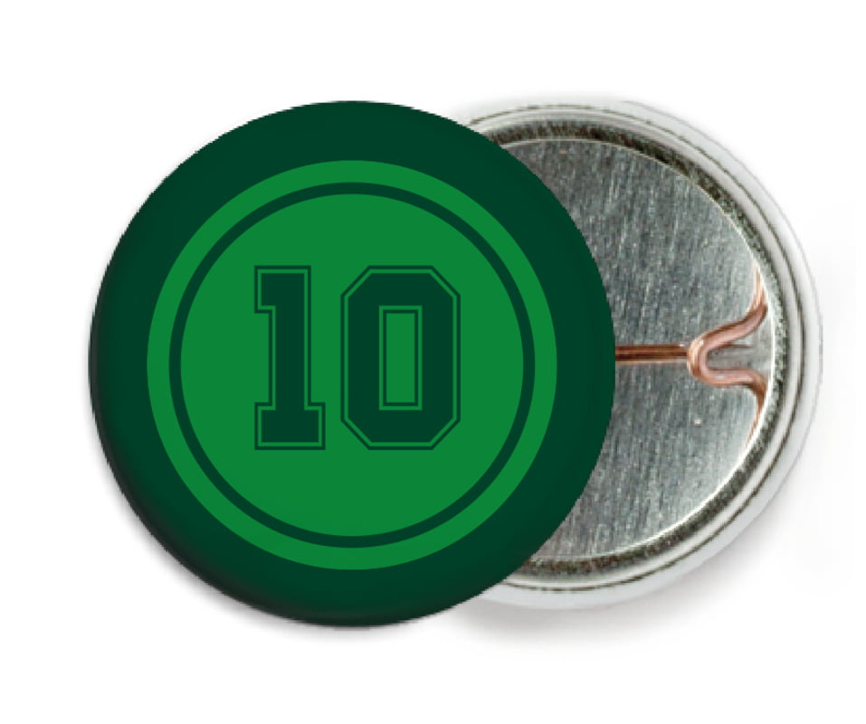custom pin back buttons - green & forest - football (set of 6)