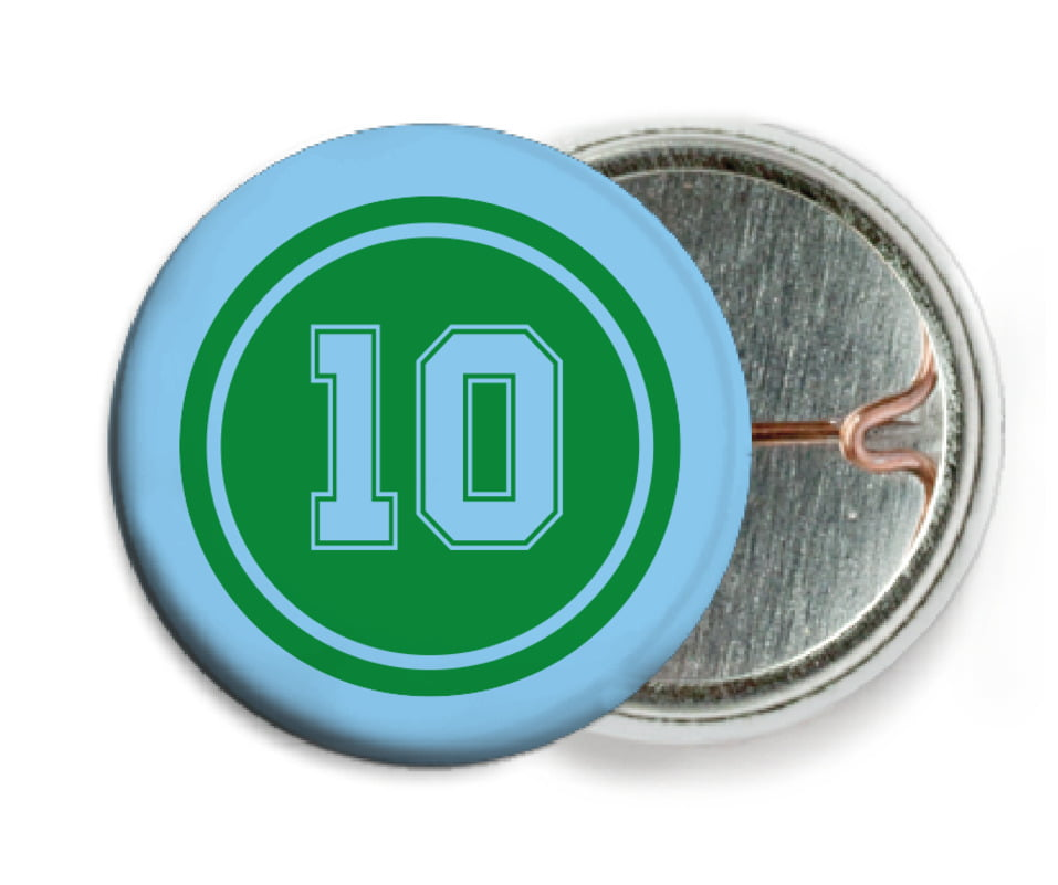 custom pin back buttons - green & light blue - football (set of 6)