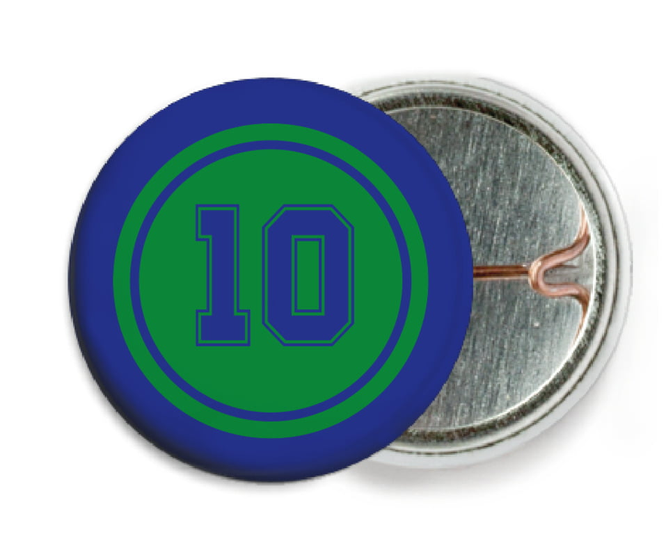 custom pin back buttons - green & royal - football (set of 6)